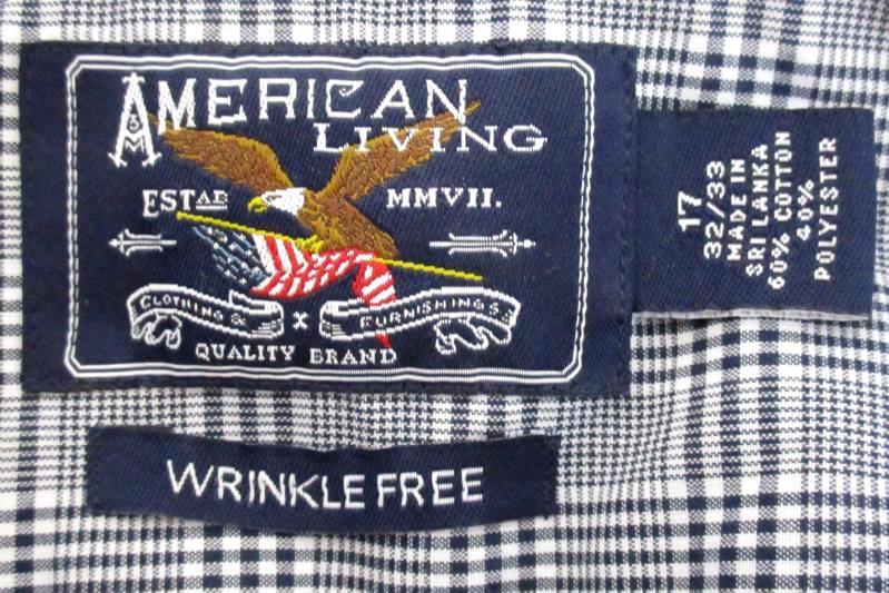 American Living Men's Button Up Shirt Wrinkle Free Black White Plaid Sz 17 32 33