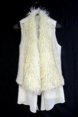 Papaya Women's Faux Fur Open Front Vest Sheer Ivory Acrylic Blend Sz M