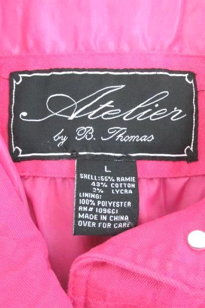 Atelier By B. Thomas Bright Pink Ramie Cotton Stretch Jacket Button Up Women's L