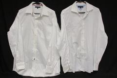 Lot of 2 Tommy Hilfiger Men's White Dress Shirts Regular Fit Button Up Sz 16.5