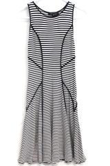 Karen Kane Women's Sleeveless Navy Blue White Striped Fit Flare Dress Sz XS