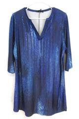 Lily by Firmaina Women's Tunic Dress Quarter Sleeve V Neck Blue Sz XL With Tag