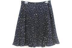 Ann Taylor Women's Pleated Flare Skirt Navy Blue Dots Polyester Lined Sz 8