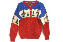 Eddie Bauer Women's Vintage Winter Ugly Christmas Sweater Wool Sz S
