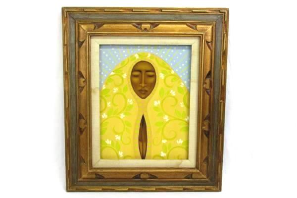 Bronze Brown Wood Framed Tamara Adams Yellow Madonna Canvas Print Portland OR