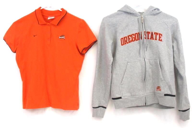 Lot of 2 Boy's Nike Oregon State Beavers Hoodie Sweatshirt Polo Shirt Sz M 8 10