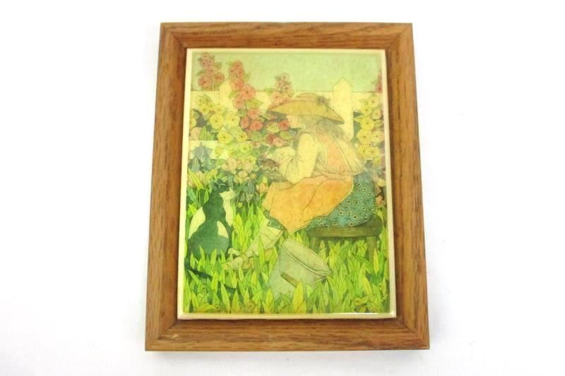 Framed Tile Trivet Woman Sitting On A Stool Picking Flowers With Her Cat