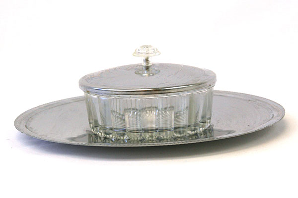 Silverplate & Glass Snack Set - Tray & Bowl