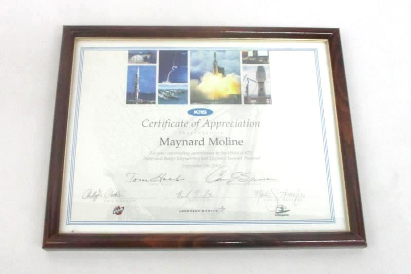 Framed Certificate of Appreciation From Bechtel KRS And Lockheed Martin Signed