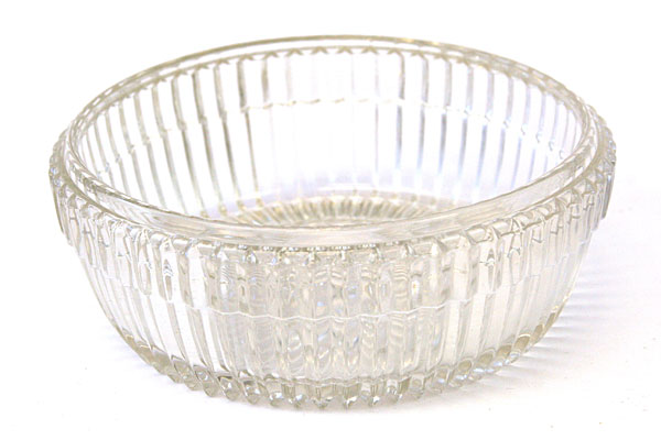 Clear Ridged Glass Candy Dish