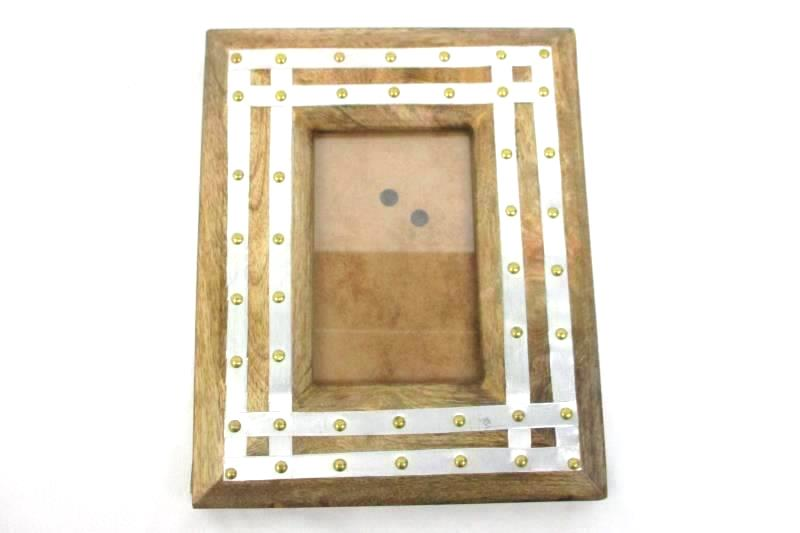 Wood Frame With Brass and Aluminum Accents for 6.25 x 4 in Photos