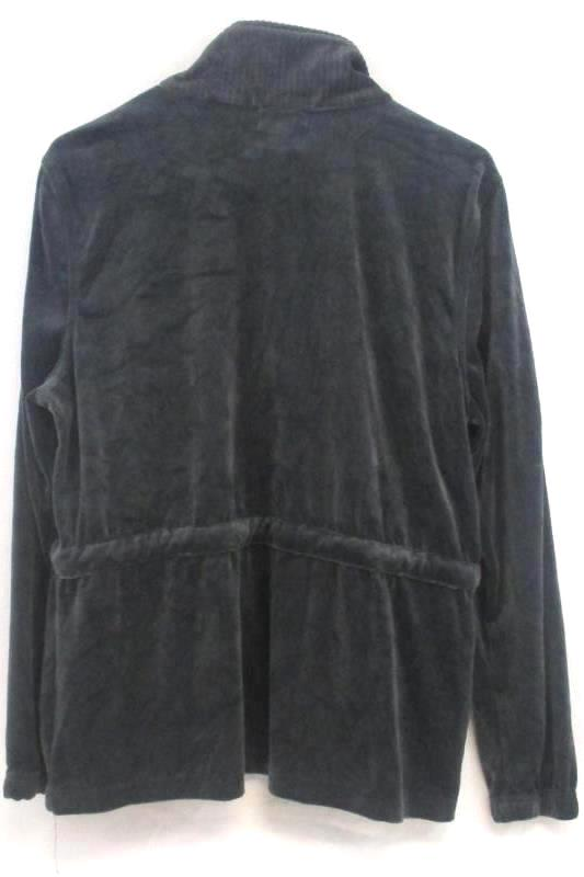 Vintage Cotton Women's Full Zip Gray Velvet Casual Jacket Drawstring Waist Sz L