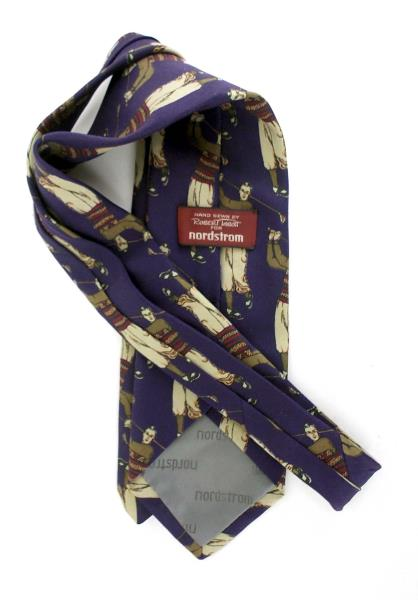 Vtg ROBERT TALBOTT for Nordstrom Purple Golfer 100% Silk Neck Tie Made In USA