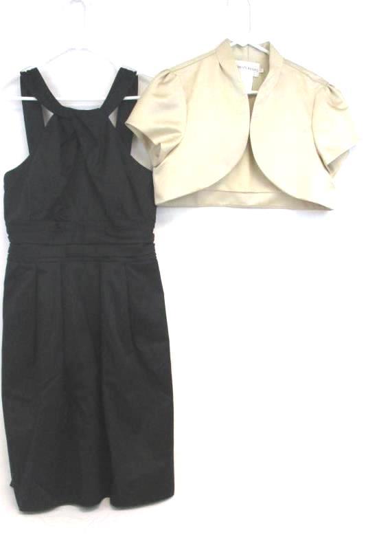 David's Bridal Black Short Y Neck Dress with Gold Cropped Jacket Women's Size 10