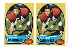 Lot of 2- 1970 Topps Ken Gray #92 Guard Cardinals Football Cards