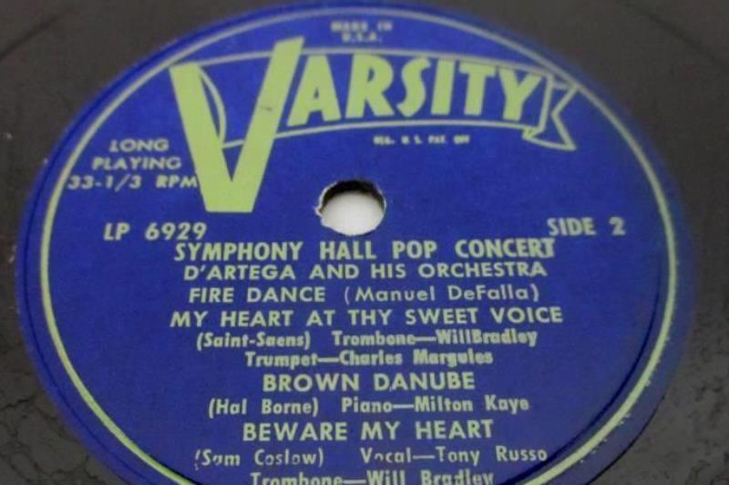 D'Artega And His Orchestra Symphony Hall Pop Concert 10in Vinyl 33 RPM LP Record