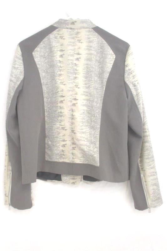 Calvin Klein Moto Jacket Gray Snake Print Zipper Front Polyester Women's Size L
