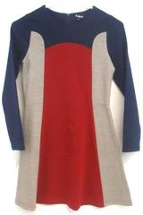 Kidpik Girl's Long Sleeve Knit A Line Dress Red Blue Gray Color Block Sz L 12