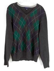 LAND'S END V-Neck Argyle Sweater Gray Blue Green 100% Cotton Mens MEDIUM (38-40)