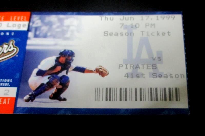 1999 ETM Ticket Stub Dodgers vs Pirates 41st Season Loge Seat