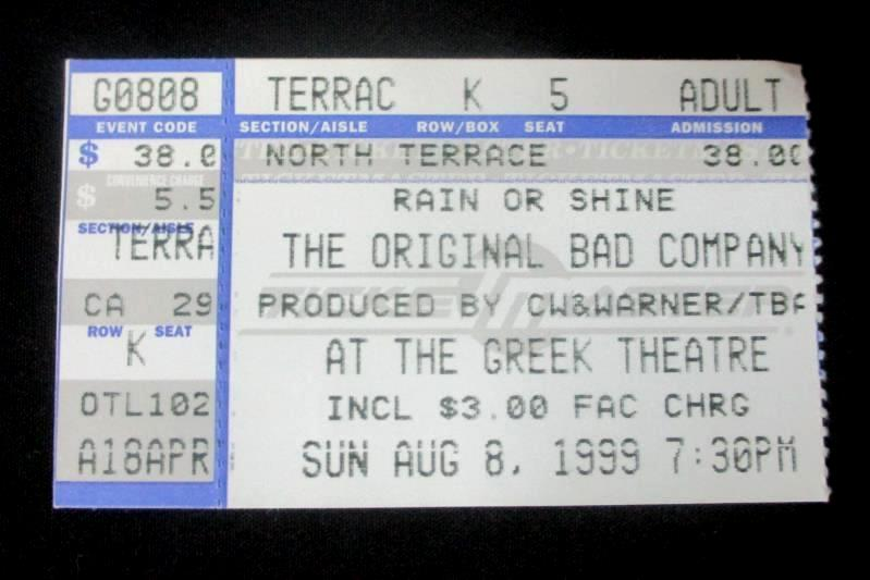 Bad Company Concert Ticket Stub Greek Theatre August 8 1999