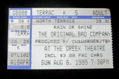 Bad Company Concert Ticket Stub Greek Theatre August 8 1999