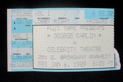 Vintage George Carlin Concert Ticket Stub Celebrity Theatre January 6 1989