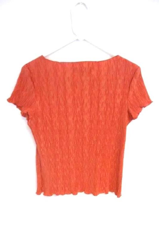 Connected Apparel Women's Salmon Crinkle Blouse Top Short Sleeve Size S With Tag