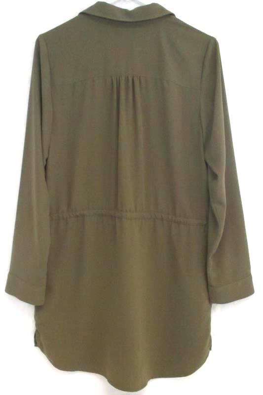 Leith Women's Army Green Tunic Top Blouse Drawstring Waist Polyester Size S