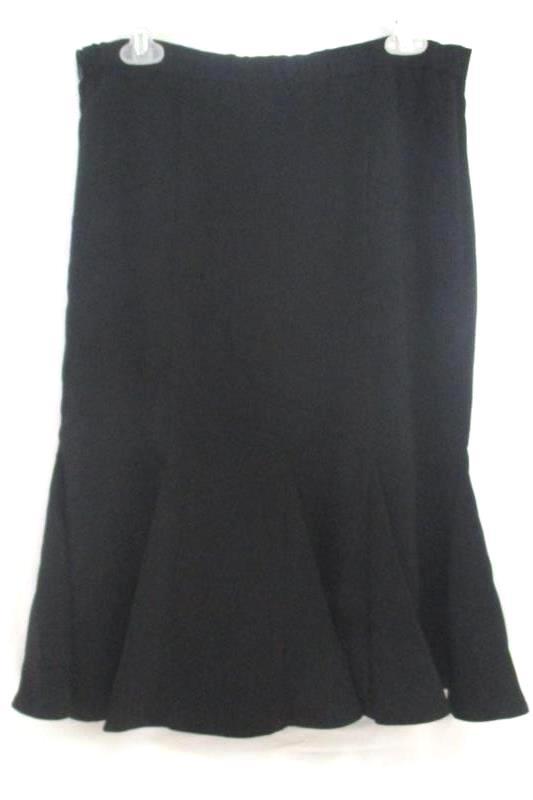 Midnight Velvet Women's Black Midi Skirt Flare Pleated Polyester Blend Sz 10