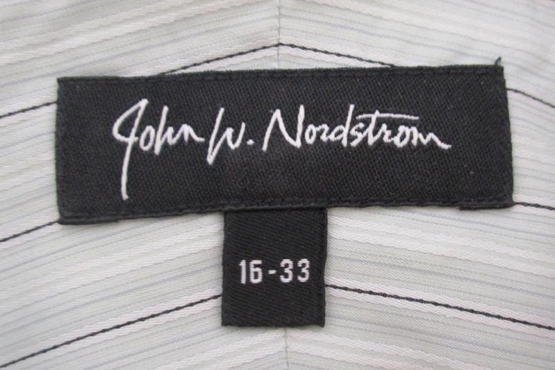 John W Nordstrom Men's Button Up Shirt Egyptian Cotton Sage Striped Size 16
