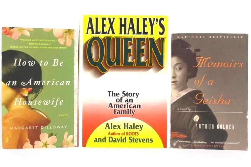 Lot of 3 Books Novels Queen Memoirs of a Geisha How to Be an American Housewife