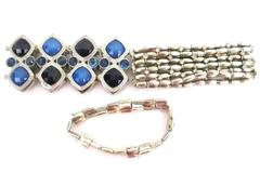 Lot of 3 Women's Elastic Beaded Bracelets Stretch Silver Tone Blue Rhinestone
