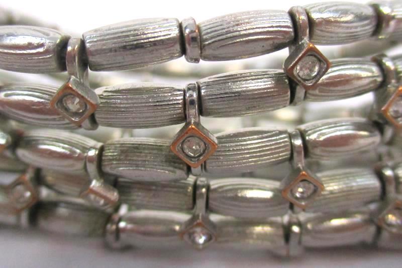 Lot of 3 Women's Elastic Beaded Bracelets Stretch Silver Tone Blue Rhinestone