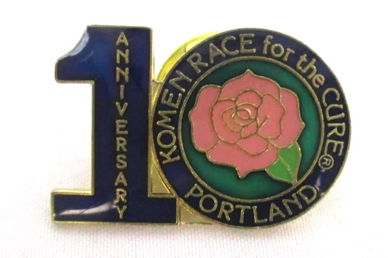 1st Anniversary Race for the Cure Pin Portland Rose Susan G Komen Breast Cancer