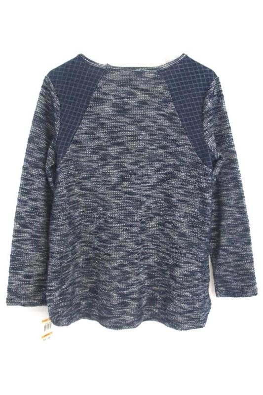 Style&Co Women's Relaxed Chic Pullover Sweater Metallic Blue Size S With Tag