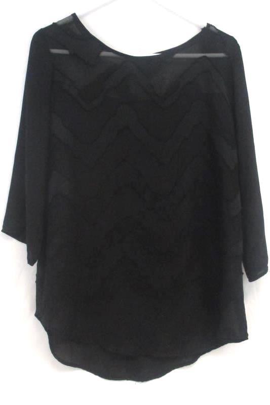 Marietta Women's Black Semi Sheer Blouse Zig Zag Striped Button Accent Size M