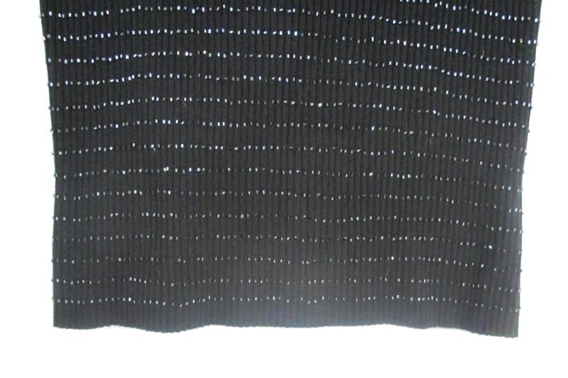 Hillard & Hanson Women's Sleeveless Black Knit Top Beaded Rayon Blend Size L