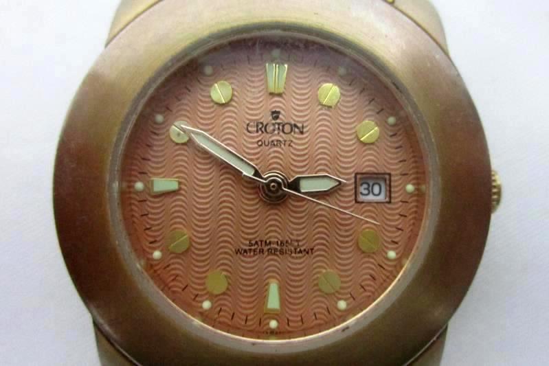 Vintage Rose Gold Men's Croton Watch Japan Movement 5 ATM Water Resist 165 Feet