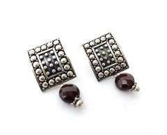 Sterling Silver Stud Earrings Curved Rectangle with Faceted Garnet Dangle