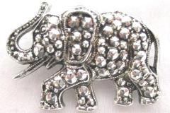 VTG Elephant Pin Crystal Accents Silver Tone Sparkly Jewelry Brooch Lapel