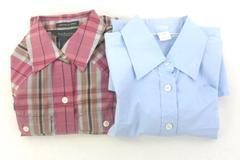 Lot of 2 Womens Button Up Shirts Size XS J Crew Light Blue Van Heusen Pink Plaid