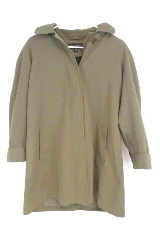 Gallery Petite Women's Button Down Coat Jacket Brown Detachable Hood Sz PS