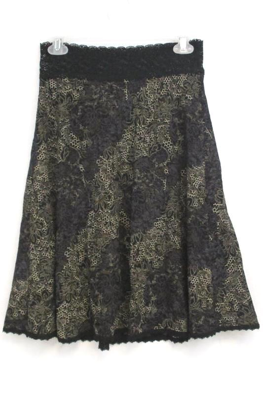 CAbi Women's Black Tan Floral Lace A Line Skirt Style 539 Nylon Blend Size XS