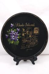 Vintage Souvenir Rhode Island Metal Drink Serving Tray Hand Painted Flowers