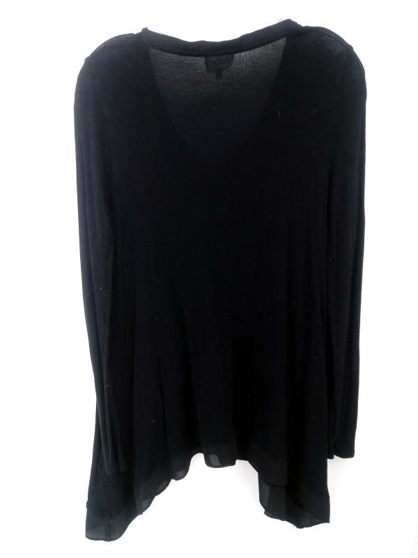 Deletta Tunic Top Lokka Knit Asymmetrical Hem Sweater Black Size Medium