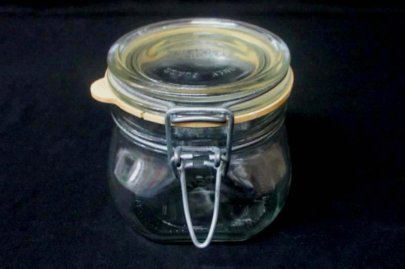 Clear Fidneza Half Liter Glass Jar With Metal Bail Italy