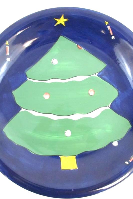 Gibson Hand Painted Retired Christmas Cookie Plate Green Tree Decorative Holiday