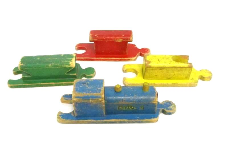 Vintage 50s Wooden Playskool Children's Train 4 Connecting Pieces Colorful Paint