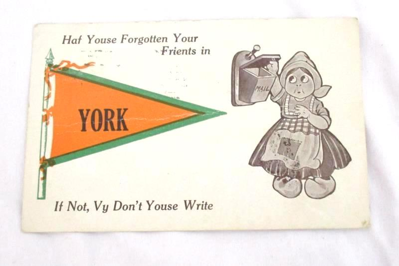 Antique 1913 Divided Back Postcard York NE Green US 1ct Stamp Posted